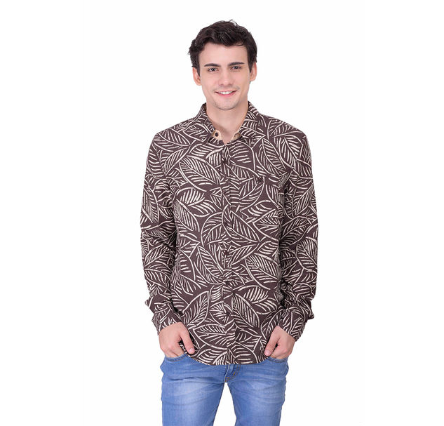 New Arrival Printed Brown cotton Shirt