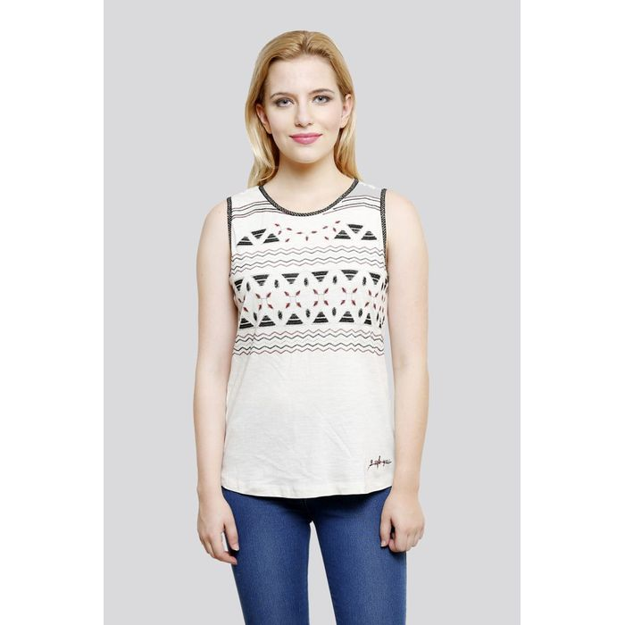 70073a8013716b Beige Embroidered Cotton Sleeveless Top