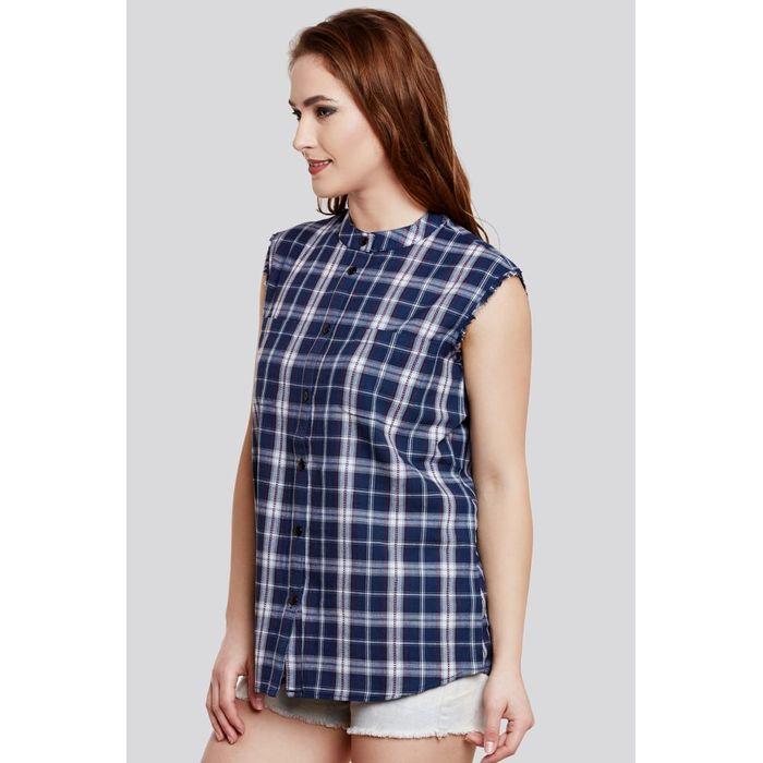 188ff84e4763b7 Blue Solid Cotton Sleeveless Shirt