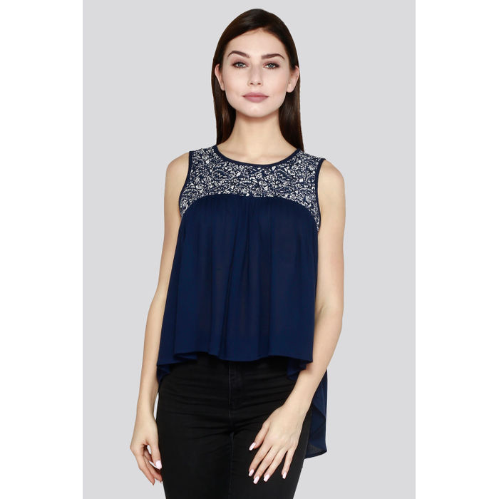02b0fd5add51a5 Blue Solid Cotton Sleeveless Top
