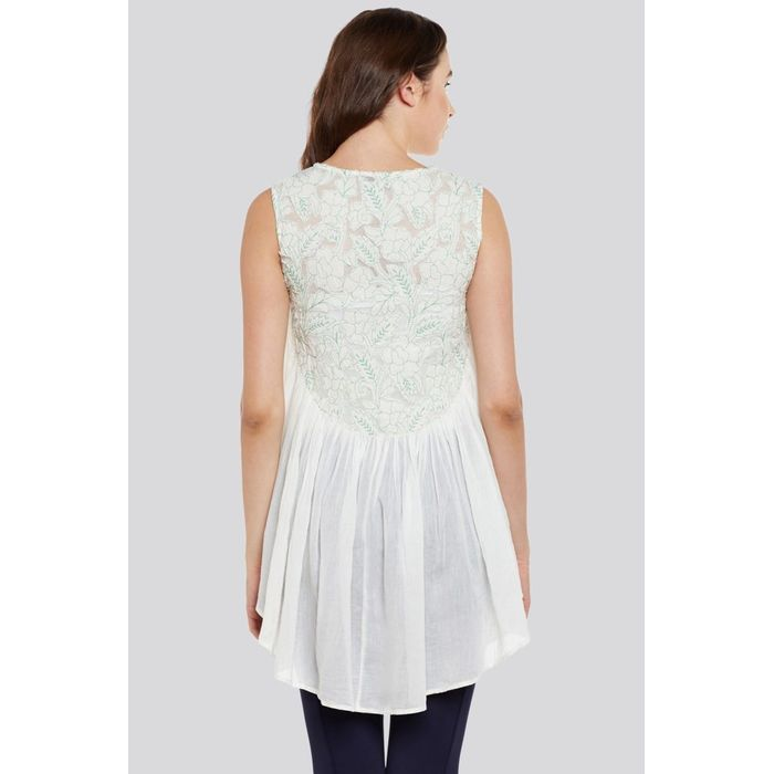 684601142bb00d Beige Embroidered Cotton Sleeveless Top