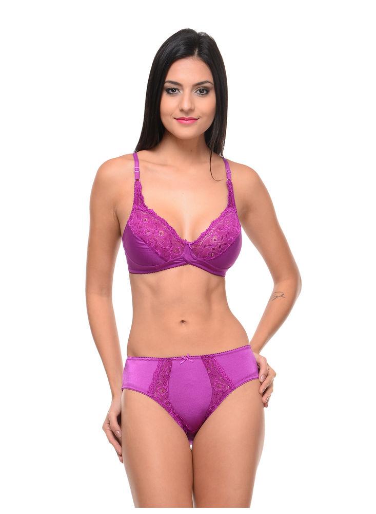 a78adafa1b Bodycare Bridal Purple color Bra   Panty Set in Nylon Elastane-6407PU