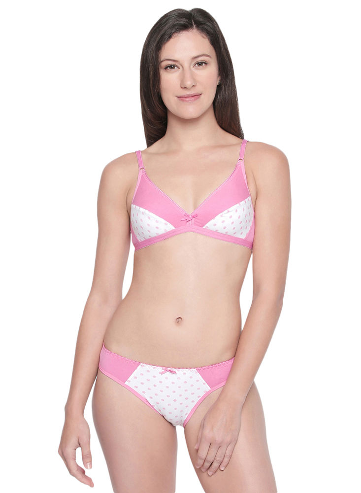 beed16d64d BODYCARE Bridal Bra   Panty Printed Lingerie Set in Pink   White Colour -  6411PRT-