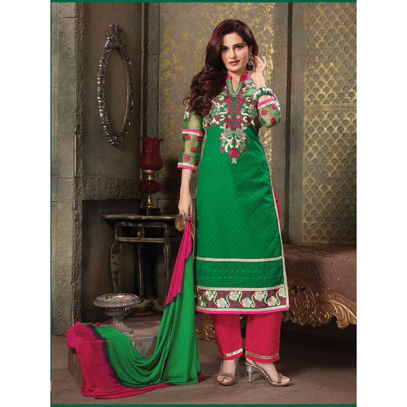 fb178535cc6 712 Green And Deep Pink Pure Cotton Long Straight Suit