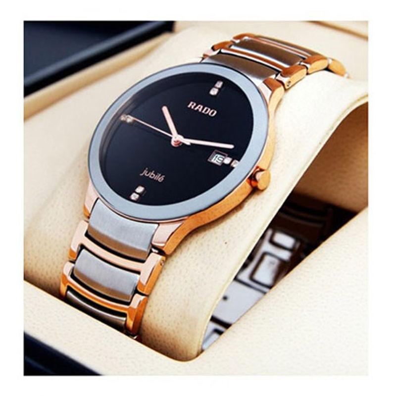 333d12220 Swiss Replica Rado Centrix Silver Gold Black Dial Watch Online India