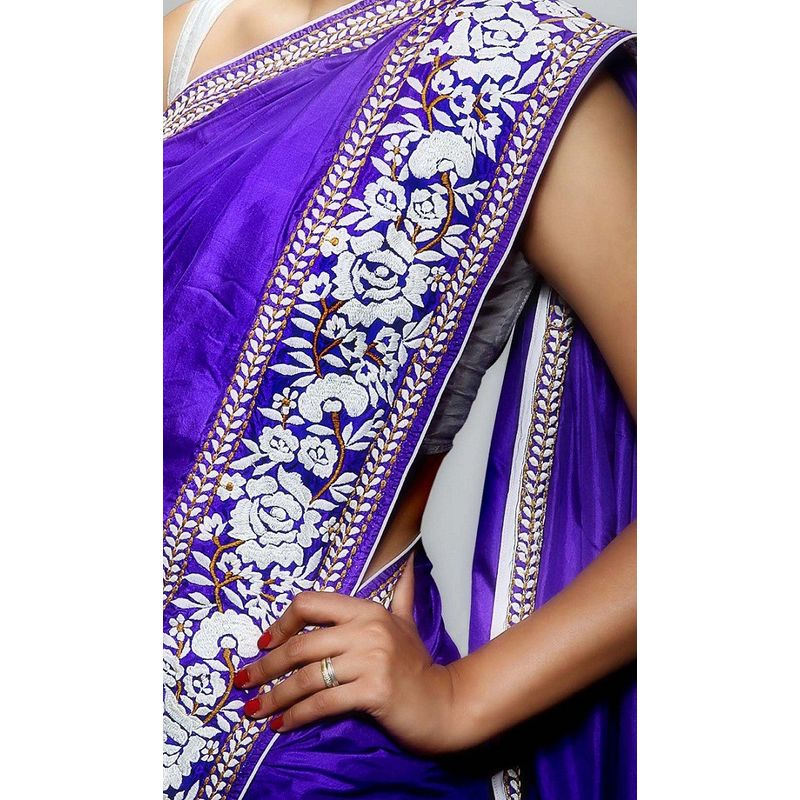 Festive Flora Silk Purple Saree