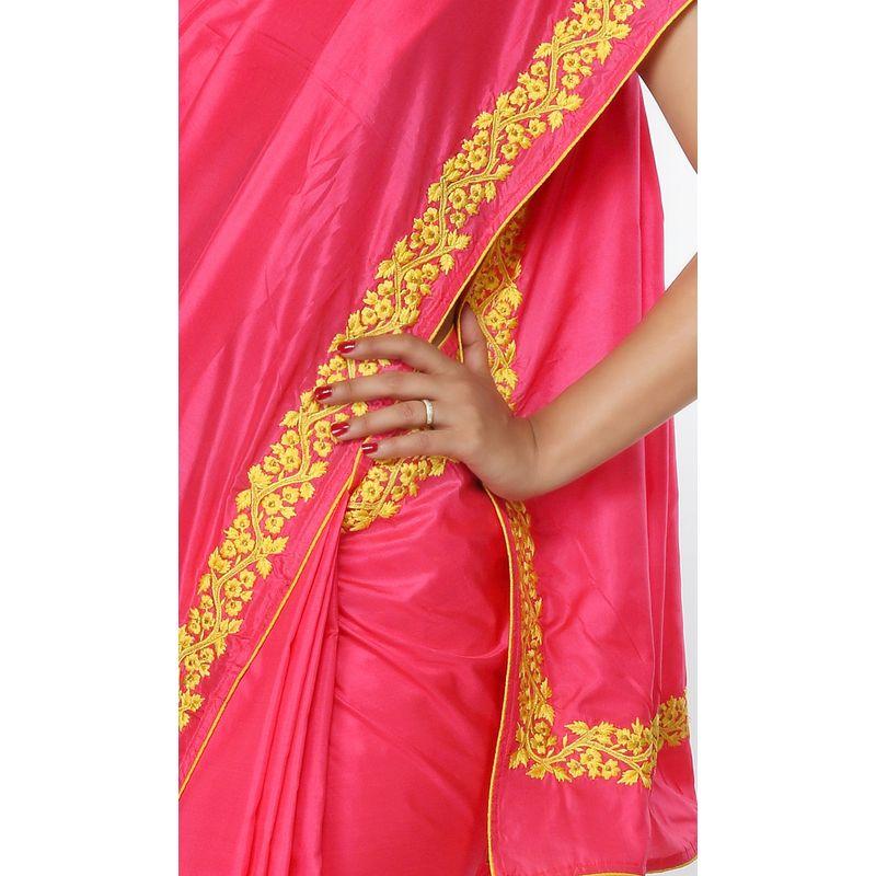 Festive Flora Silk Pink Saree