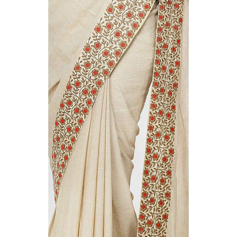 Heritage Series Georgette Off-White Saree