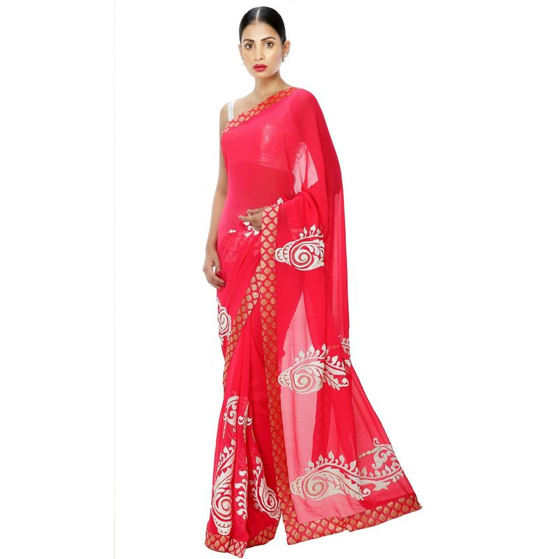 Heritage Series Georgette Red Saree