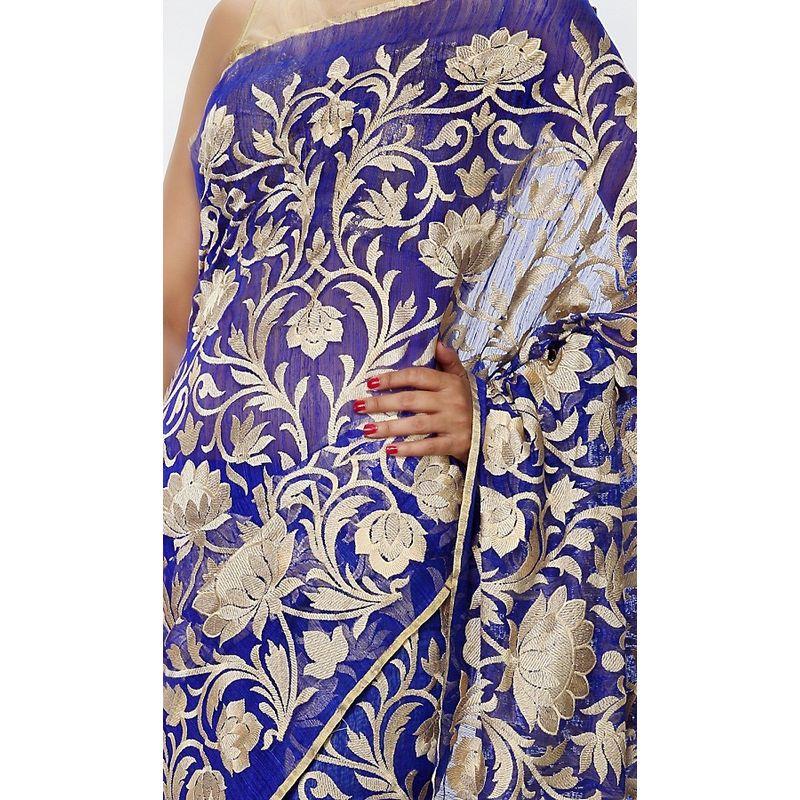 Heritage Series Matka Silk Blue Half n Half Saree