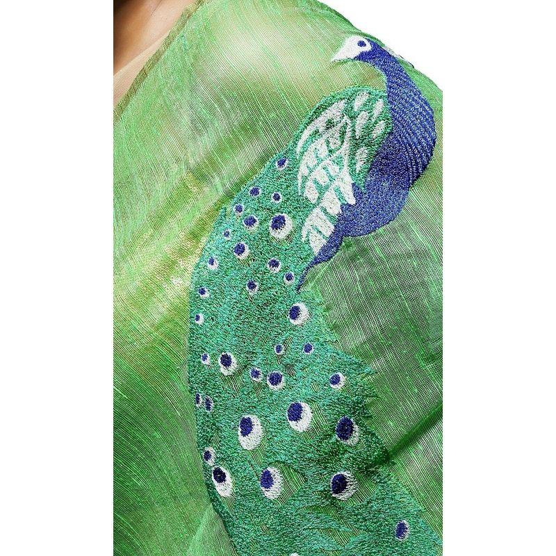 Festive Fauna Matka Silk Green Saree