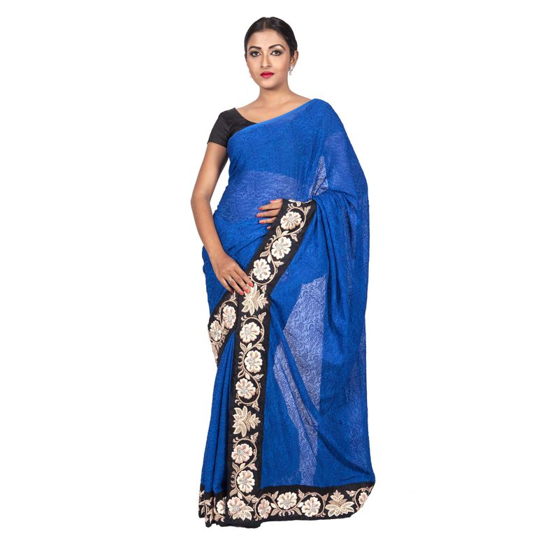 Wedding Chiffon Blue Self Embroidered Saree