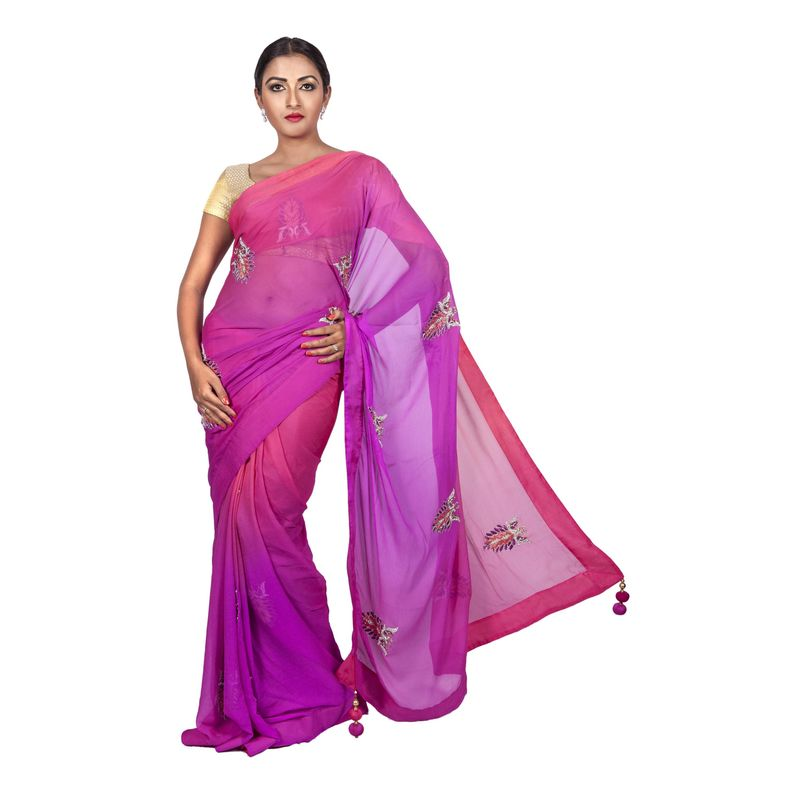 Wedding & Festive Fauna Chiffon Ombre Saree with Embroidered Peacocks
