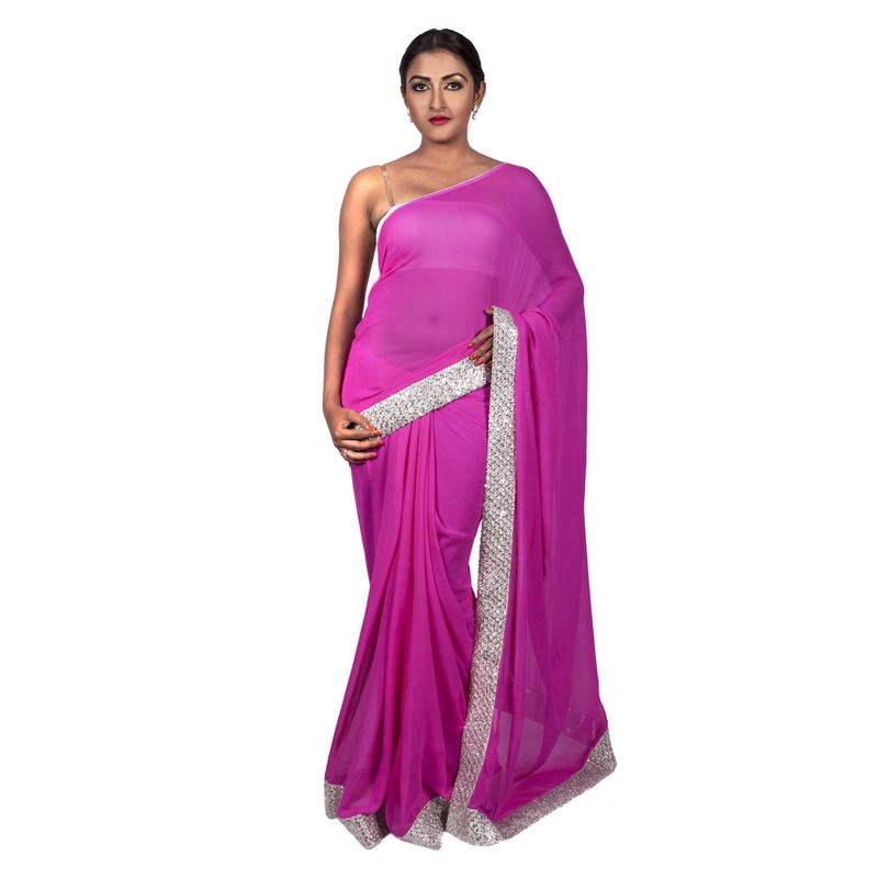 Wedding Chiffon Baby Pink Saree with Silver Basket Weave