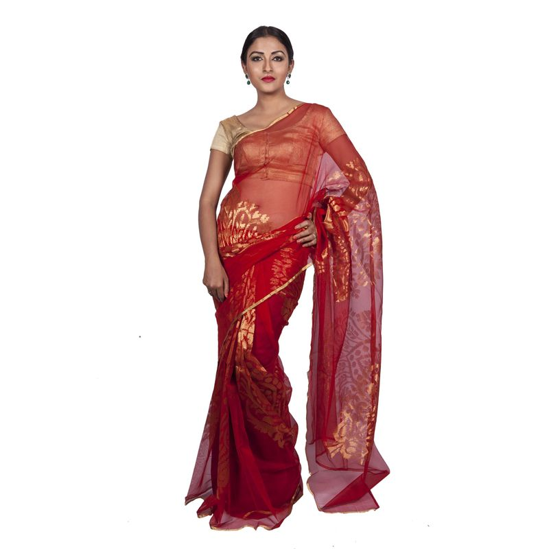 Wedding Benarasi Red Net Saree