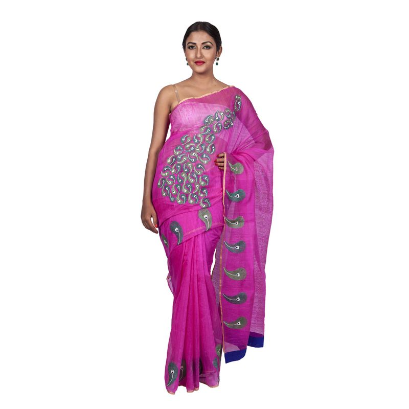 Festive Fauna Matka Silk Rani Pink with Abstract Peacock Embroidery