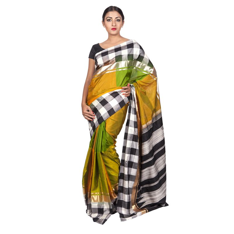 Festive Weaves Silk Golden Yellow and Green Checks Saree