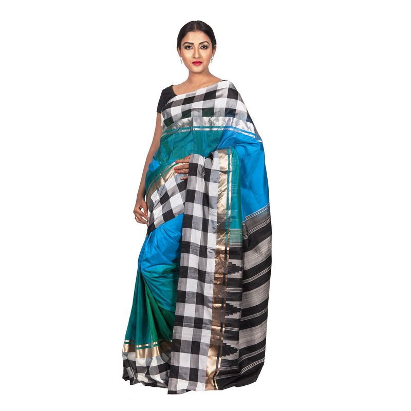 Festive Weaves Silk Peacock Blue and Green Checks Saree