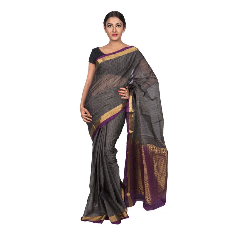 Festive Weaves Chanderi Grey Gold and Wine Saree