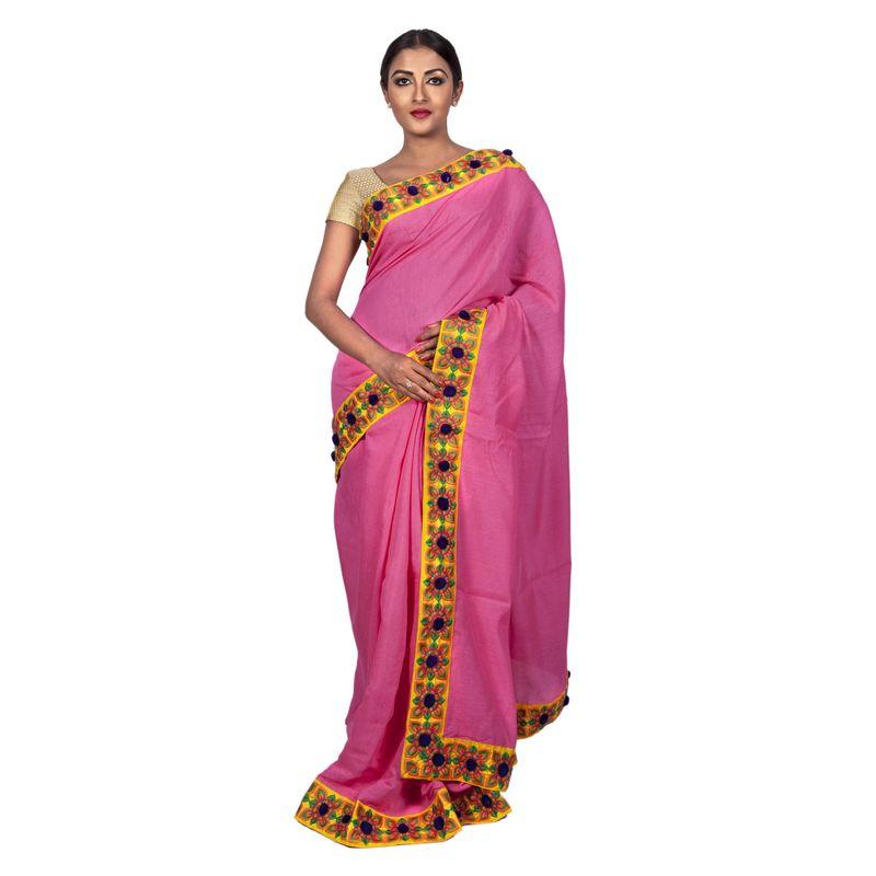 Festive Flora Linen Pink Saree