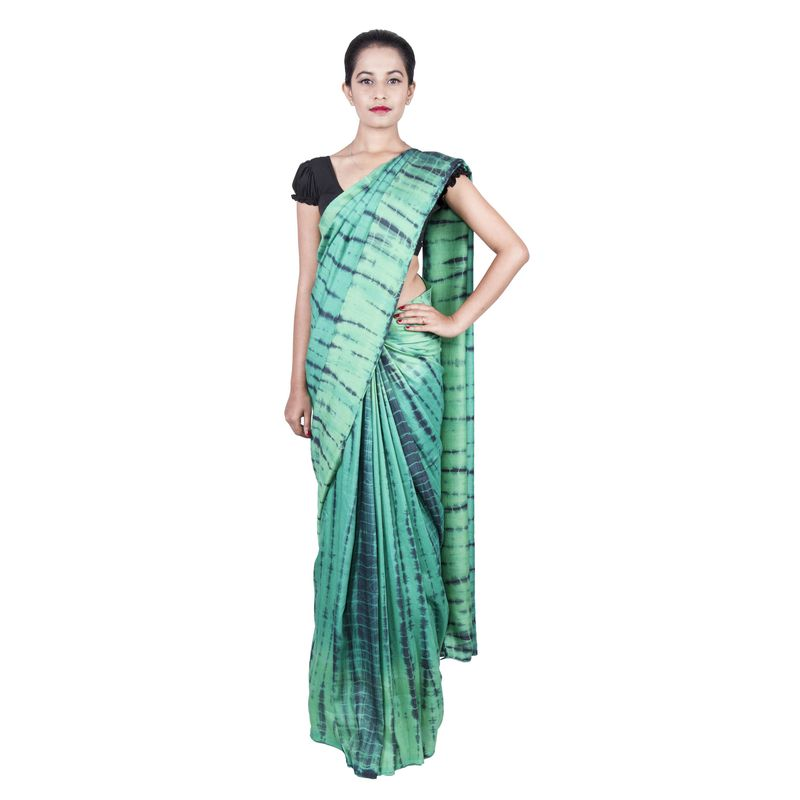 Corporate Moga Silk Green Shibori Sari