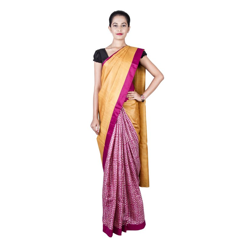 Corporate Tussar Silk Half n Half Mustard and Magenta Sari