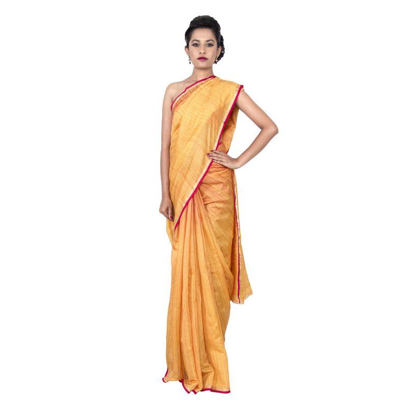 Moga Silk Golden Yellow Shibori Festive Sari