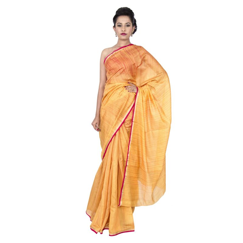 Moga Silk Golden Yellow Shibori Festive Sari