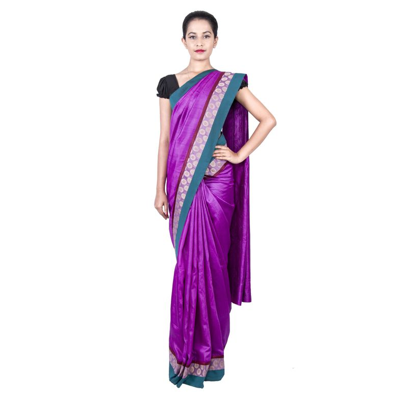 Corporate Moga Silk Aubergine Pink Sari