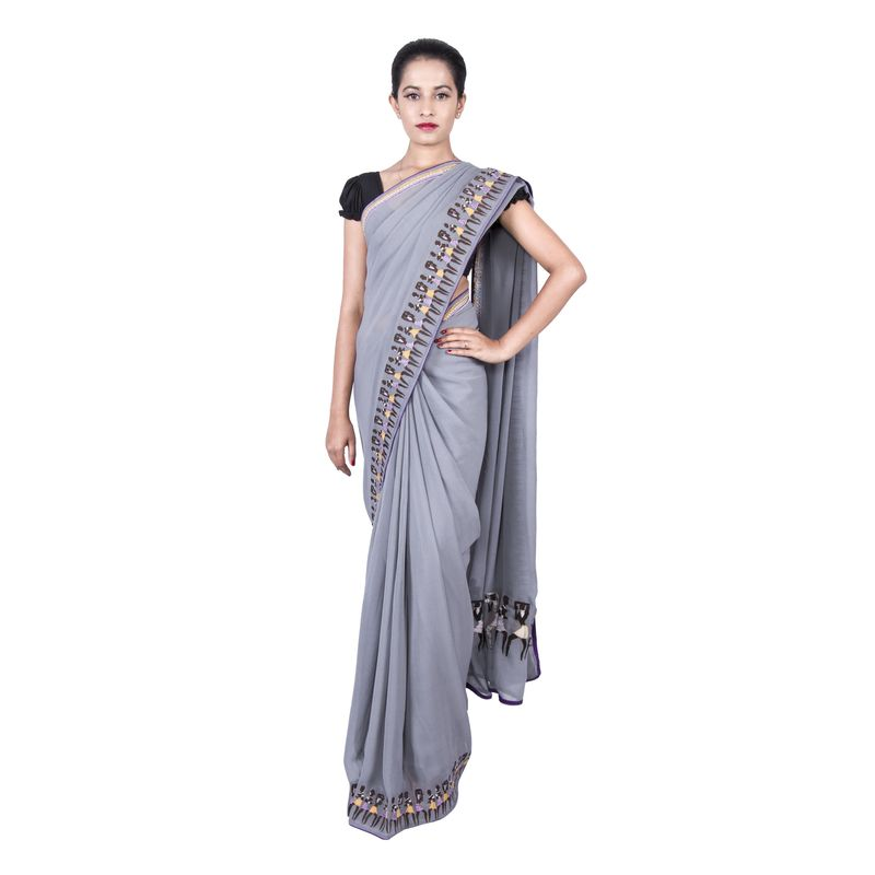 Corporate Georgette Grey 'Women Empowerment' Tribal Series Sari