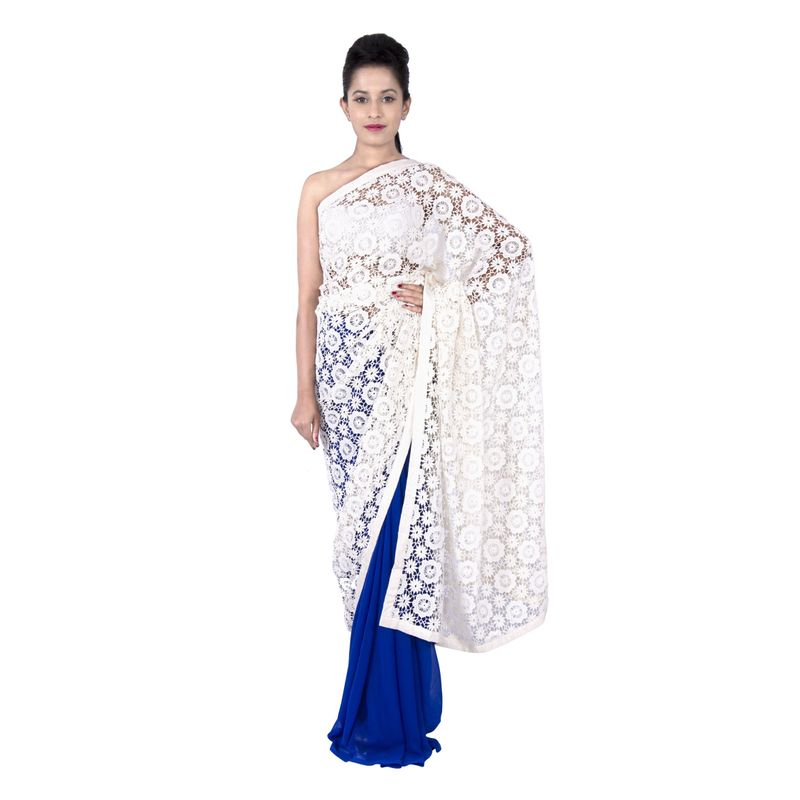 Half n Half Georgette Blue with Lace Party Sari
