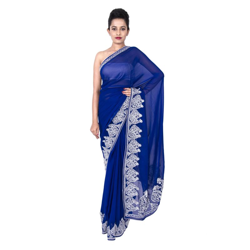 Georgette Blue Party Sari with Alpona Embroidered Border in White