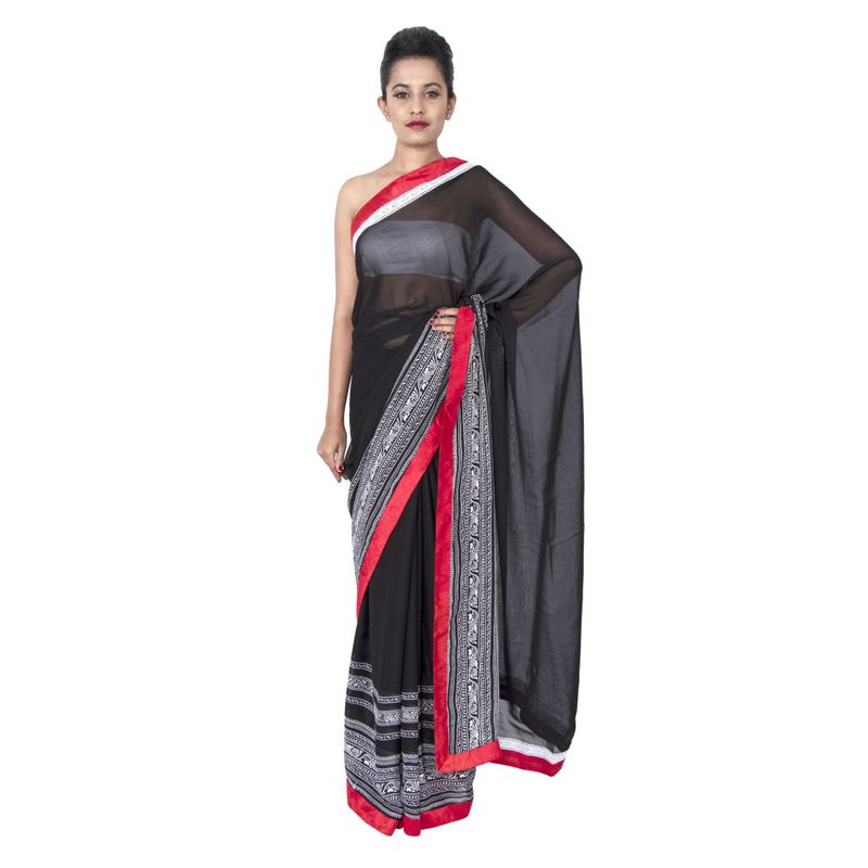 Georgette Black with Lace Border Party Sari