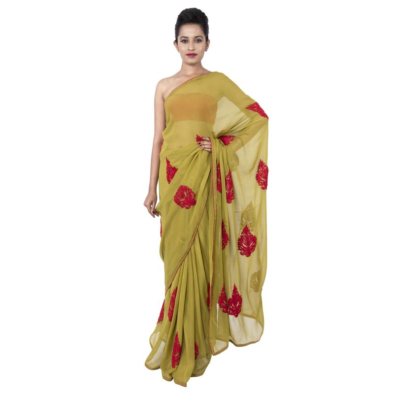 Georgette Lime Green Party/ Festive Sari