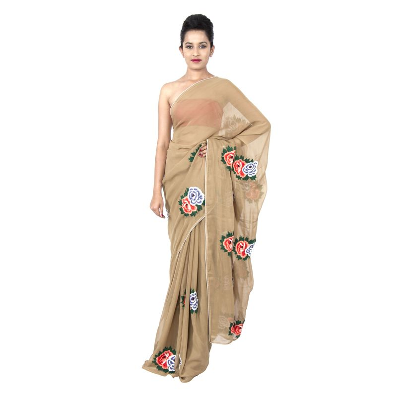 Georgette Biscuit Colour Party Sari with Floral Butas