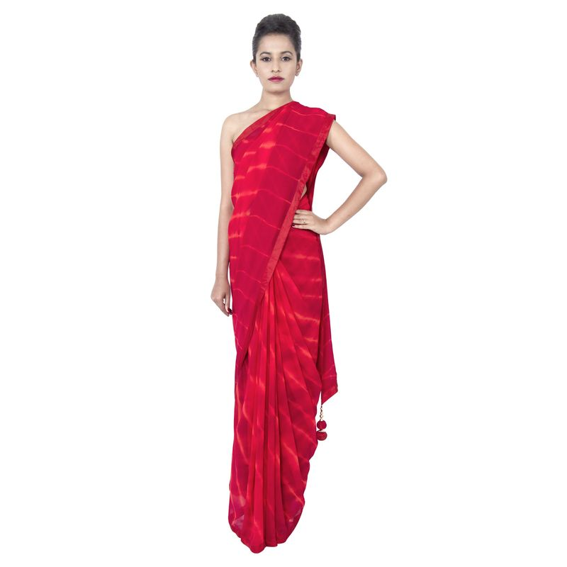 Georgette Leheriya Red Party/ Festive Sari