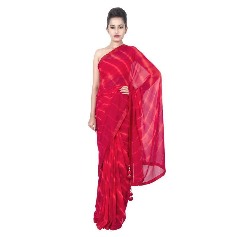 Georgette Leheriya Red Party/ Festive Sari