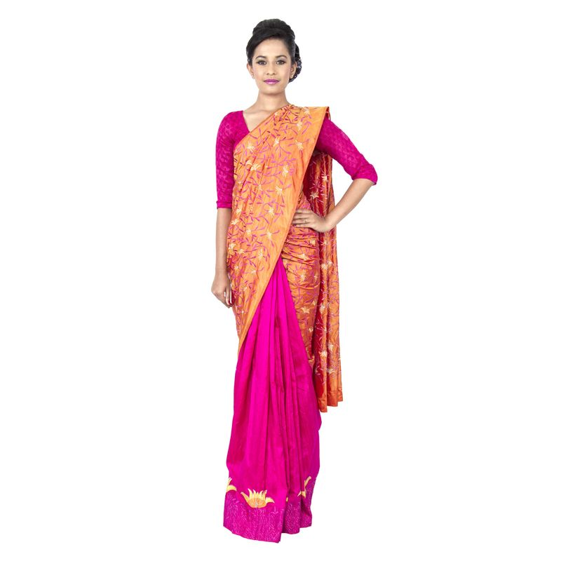 Half n Half Pure Silk Golden Yellow and Dupion Silk Pink Festive/ Wedding Sari