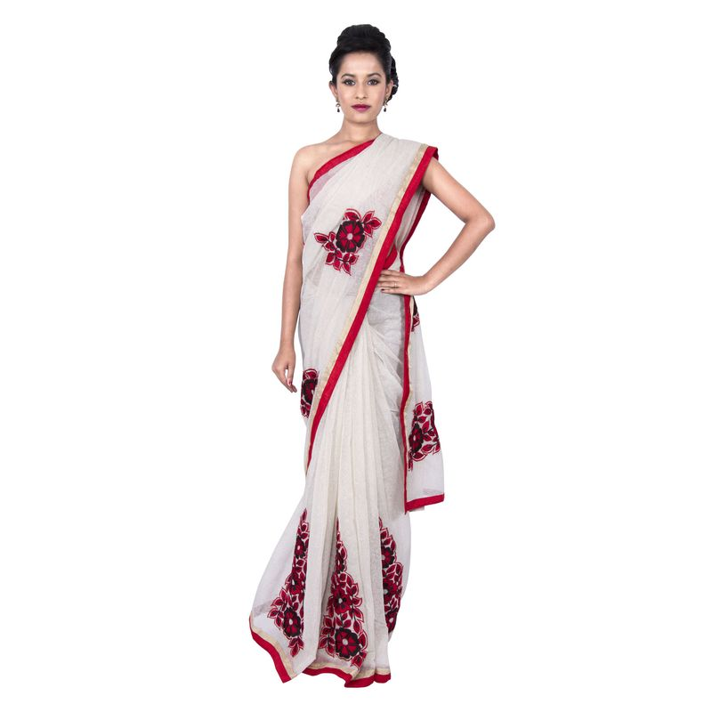 Tissue Off White Festive Sari with Red Floral Embroidery