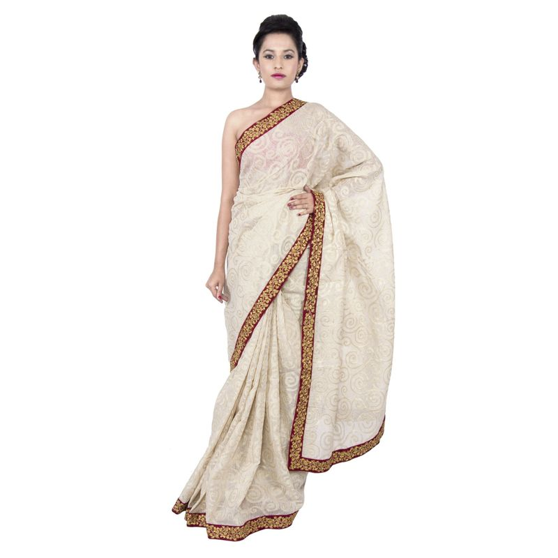 Chanderi Off White Festive Sari with Floral Embroidered Border