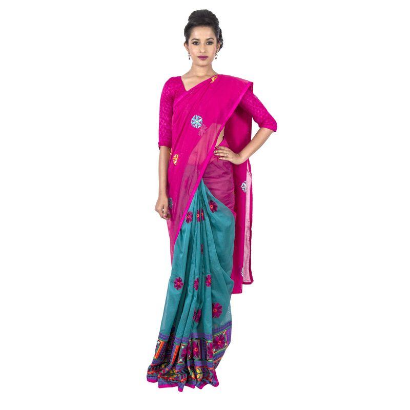Half n Half Chanderi Green and Pink Festive Sari