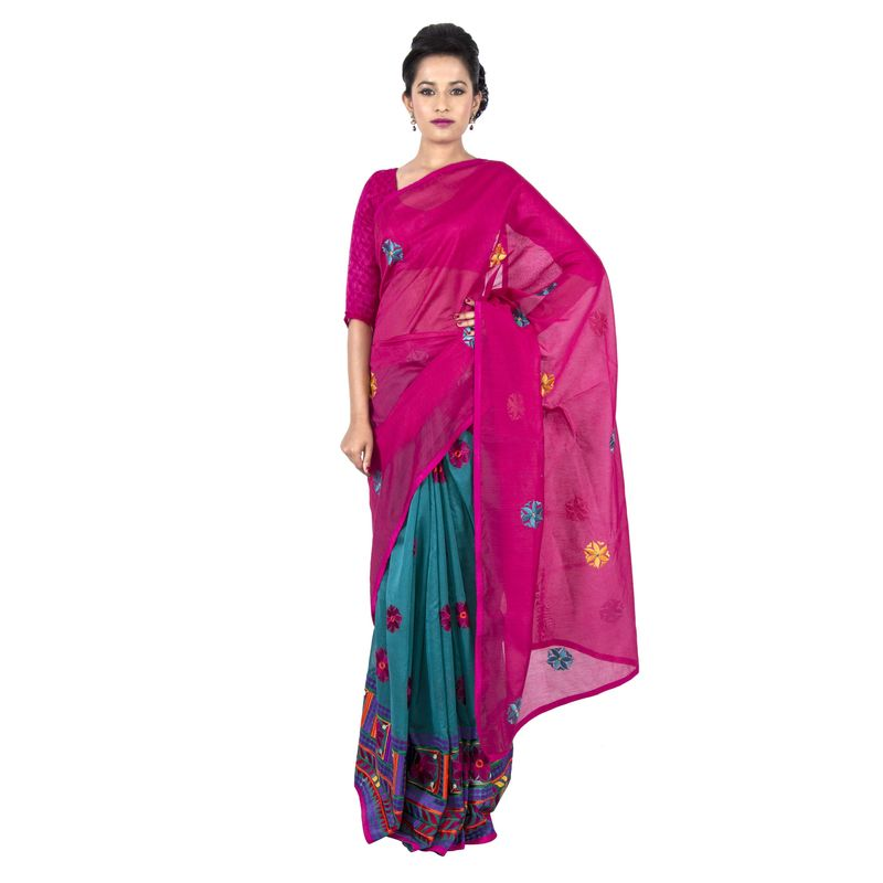 Half n Half Chanderi Green and Pink Festive Sari