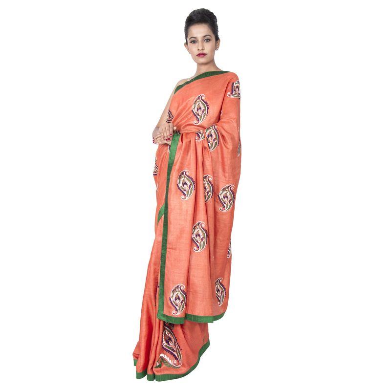 Tussar Silk Orange Festive - Party Sari with Embroidered Butas