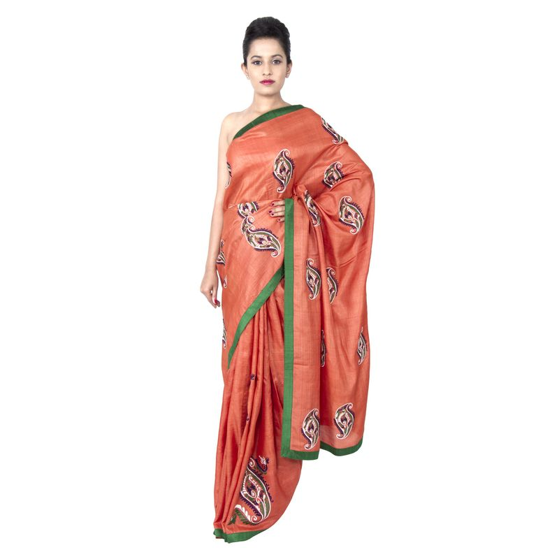 Tussar Silk Orange Festive - Party Sari with Embroidered Butas