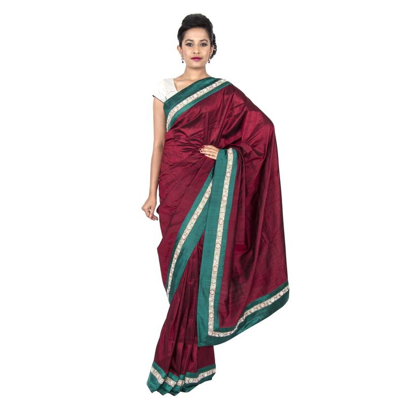 Dupion Silk Maroon Wedding Sari with Green Border