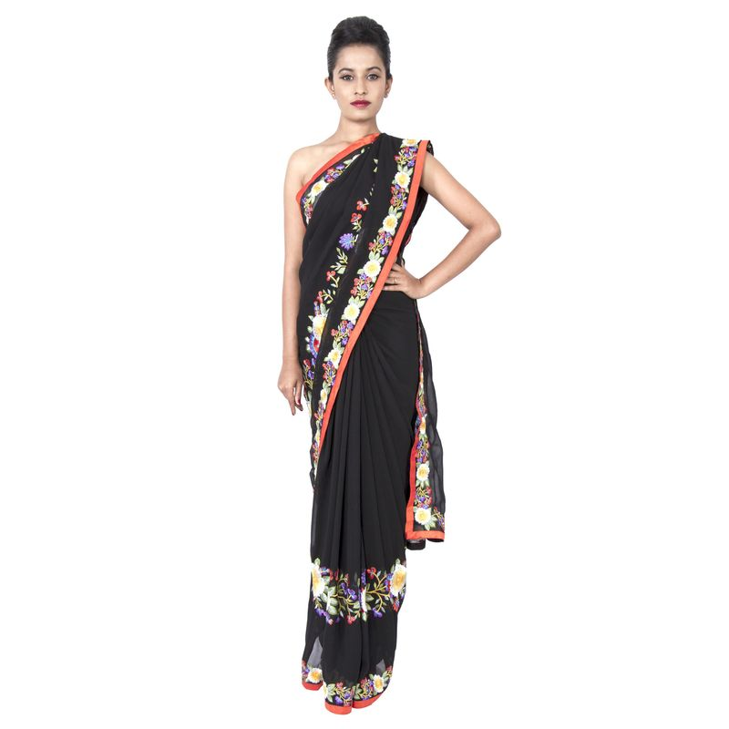 Georgette Black Wedding/ Party Sari with Floral Embroidery
