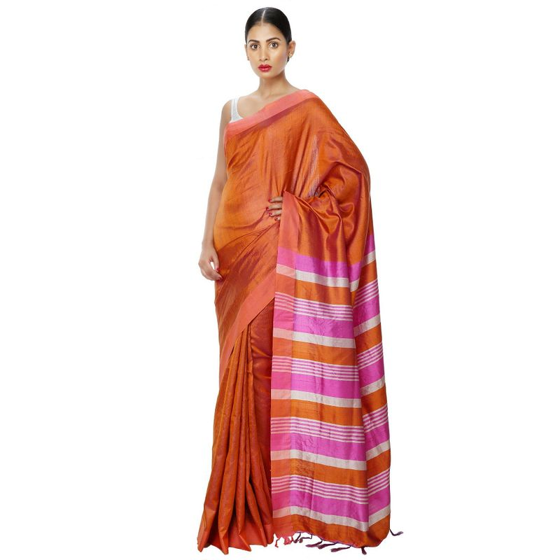 Festive Weaves Tussar Two-Tone Orange and Pink Saree