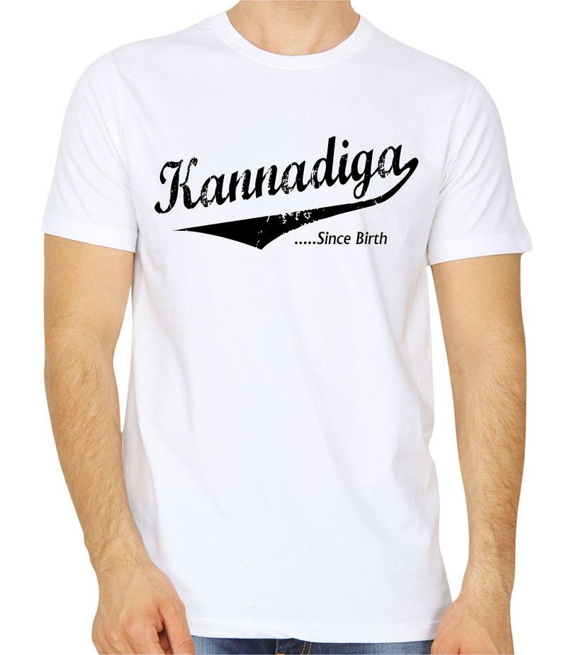 cd8d47750336 Kannadiga Since Birth White Colour Round neck T-shirt