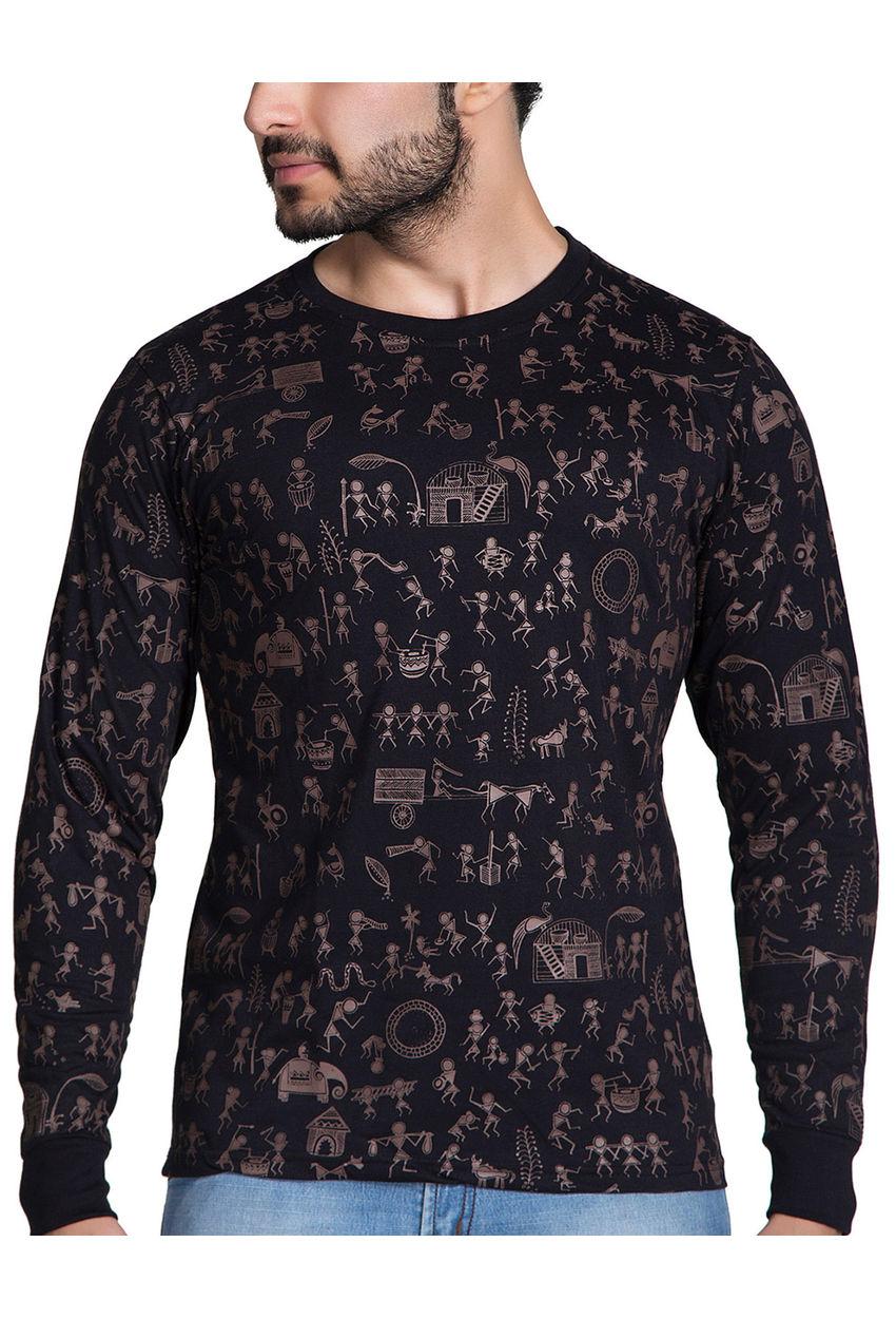 Long Sleeve Warli Art T Shirt All Over Print Full Sleeve Tee