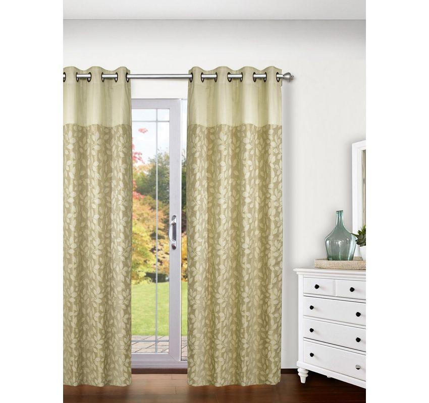 Ariana Arrow Leaf 1 Piece Polyester Eyelet Door Curtain